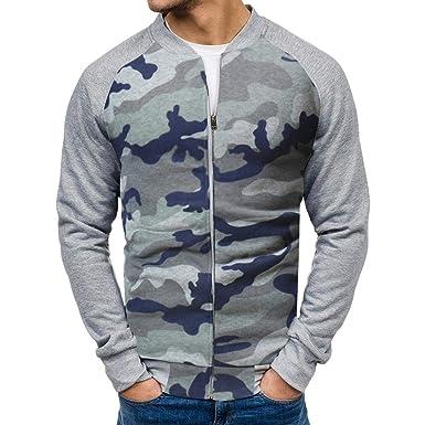 Yvelands Camisa de Camuflaje de Camuflaje Casual Hombres Chaqueta de Bolsillo de Corte Slim Chaqueta de Manga Larga Blusa de Camuflaje Superior: Amazon.es: ...