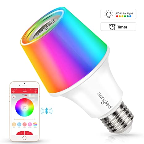 Sengled Solo RGBW Bluetooth Light Bulb Speaker Multi Color Changing LED  Light Bulb 60W Equivalent Dimmable App Controlled E26 Smart Music Bulb,