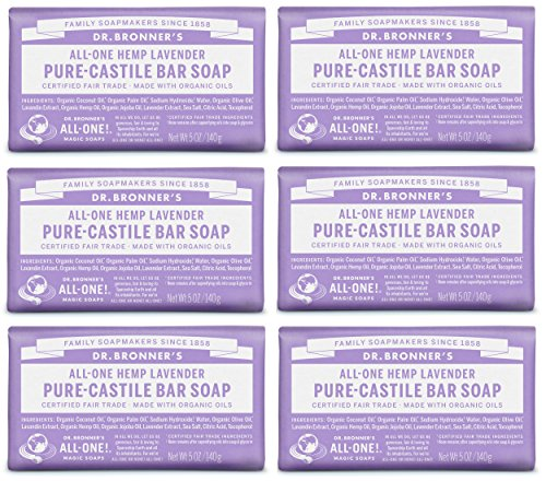 Dr. Bronner's Pure-Castile Bar Soap - Lavender 5oz. (Pack of 6)