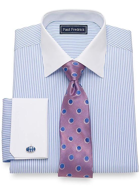 1920s Men's Dress Shirts Paul Fredrick Mens Cotton Stripe French Cuff Dress Shirt $22.00 AT vintagedancer.com