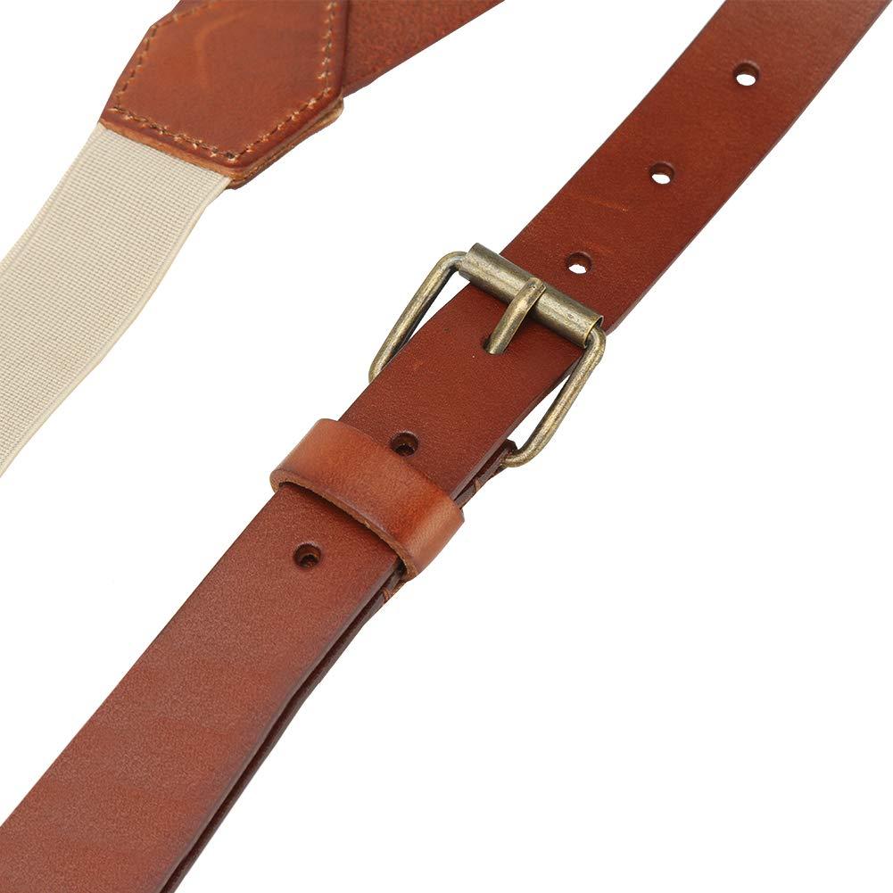 Lawevan Braune Y-Form-Zahnspange aus weichem Leder 3 Karabinerhaken Mit superfeinem Faser-PU-Kunstleder /überzogen