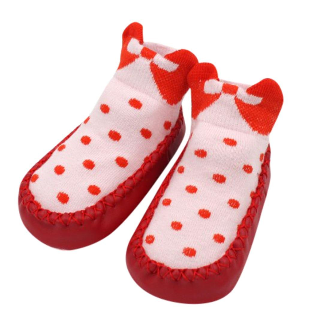 Baby Socks, IGEMY Bow Dot Newborn Baby Girls Boys Anti-Slip Socks Slipper Shoes Boots