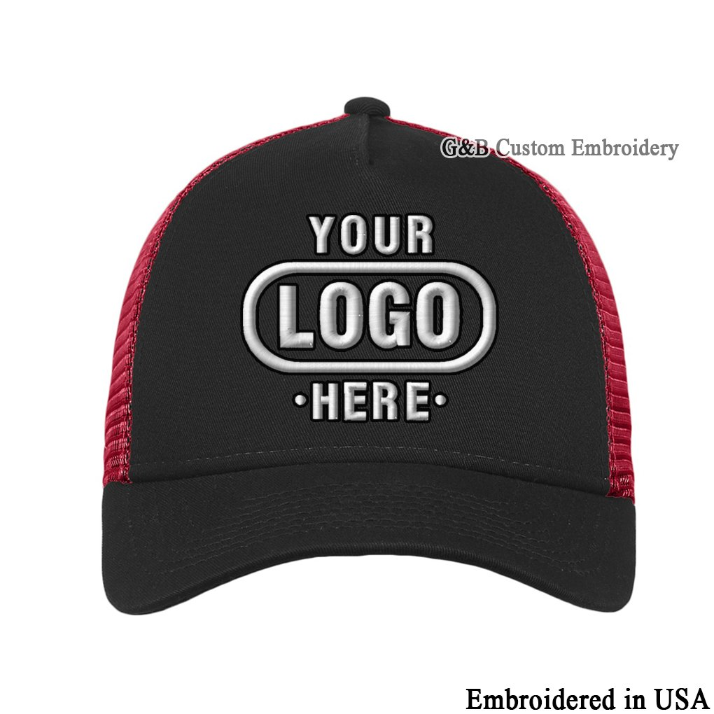 a3c9cf265831e New Era Snapback. Custom Trucker Cap. Embroidered. Your Own Logo  Embroidery. (Black 001) at Amazon Men s Clothing store