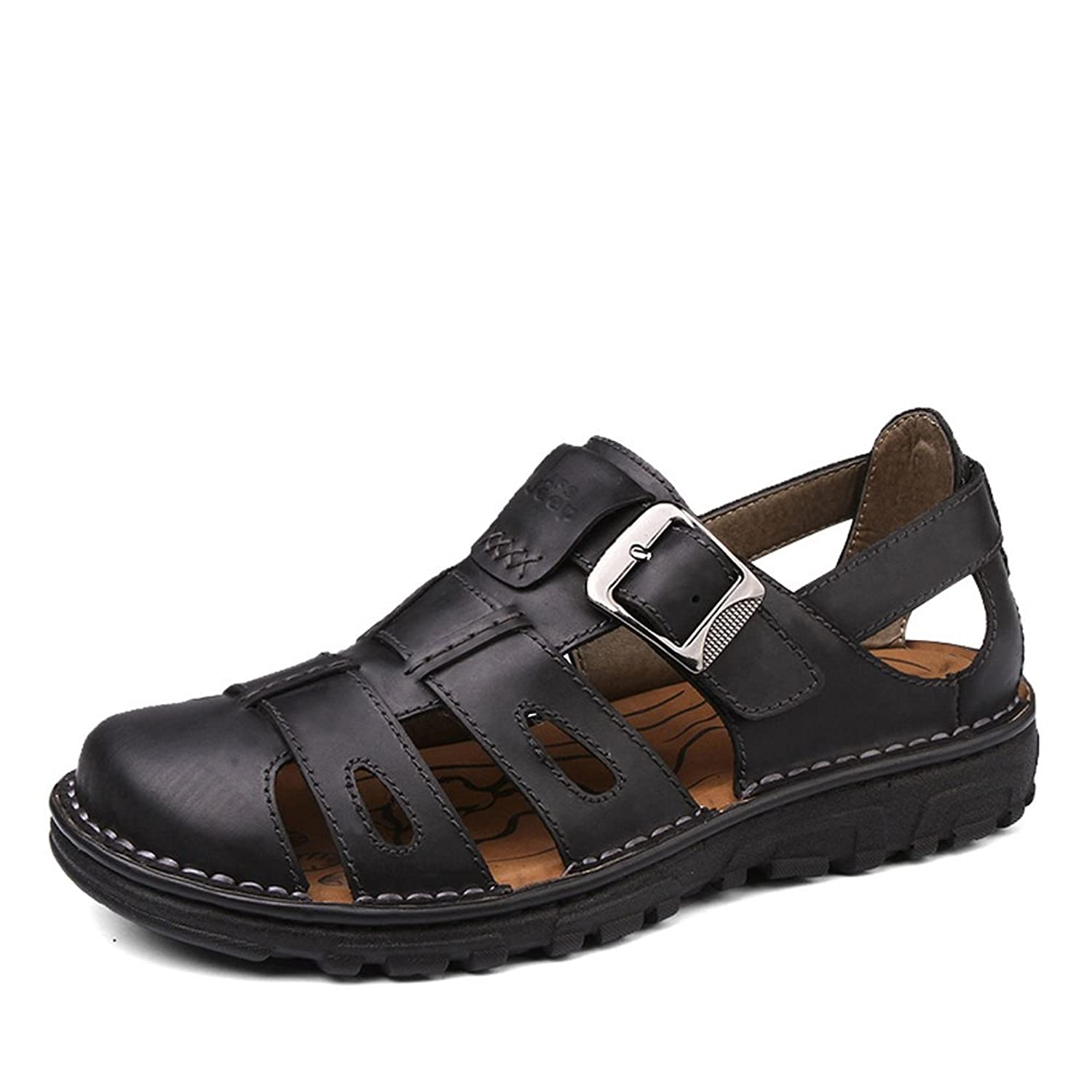 AFS JEEP Men's Outdoor Woven Pattern Close Toe Cowhide Sandals