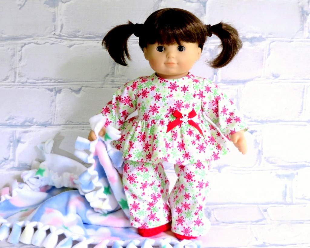 Red Green Snowflakes Flannel Pajama Set with Slippers for 15 inch dolls such as Bitty Baby and Bitty Twin