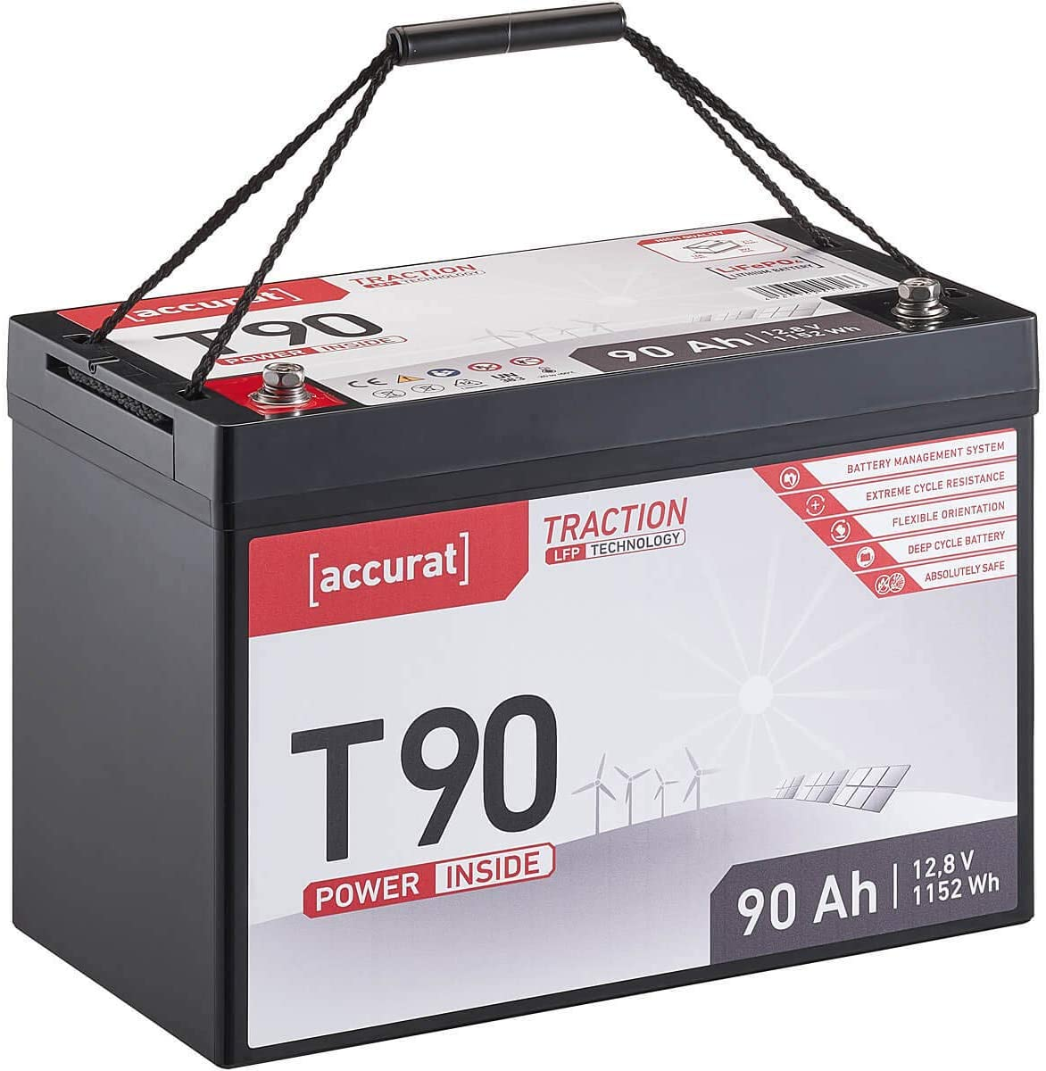 Accurat Traction 12V 12Ah LiFePO4 Lithium-Eisenphosphat Versorgungs-Batterie T12 LFP