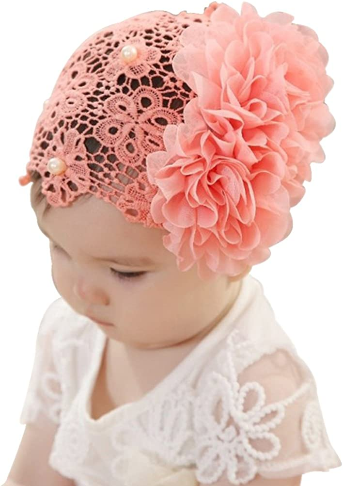 Little Girls Wide Lace Flower Elastic Hair Decor Hairband Headband