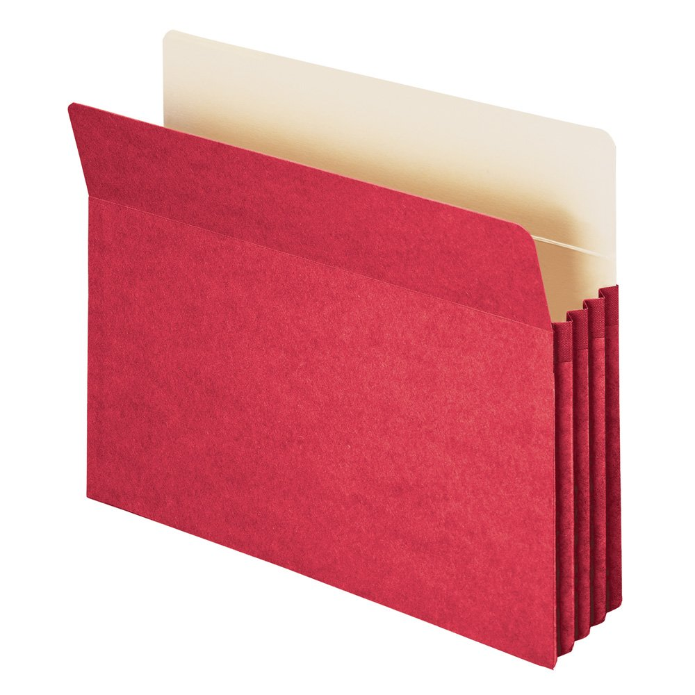 Smead Pocket, Letter, Straight, 1.5-Inch Expansion, Red, 25 Per Box (73231)