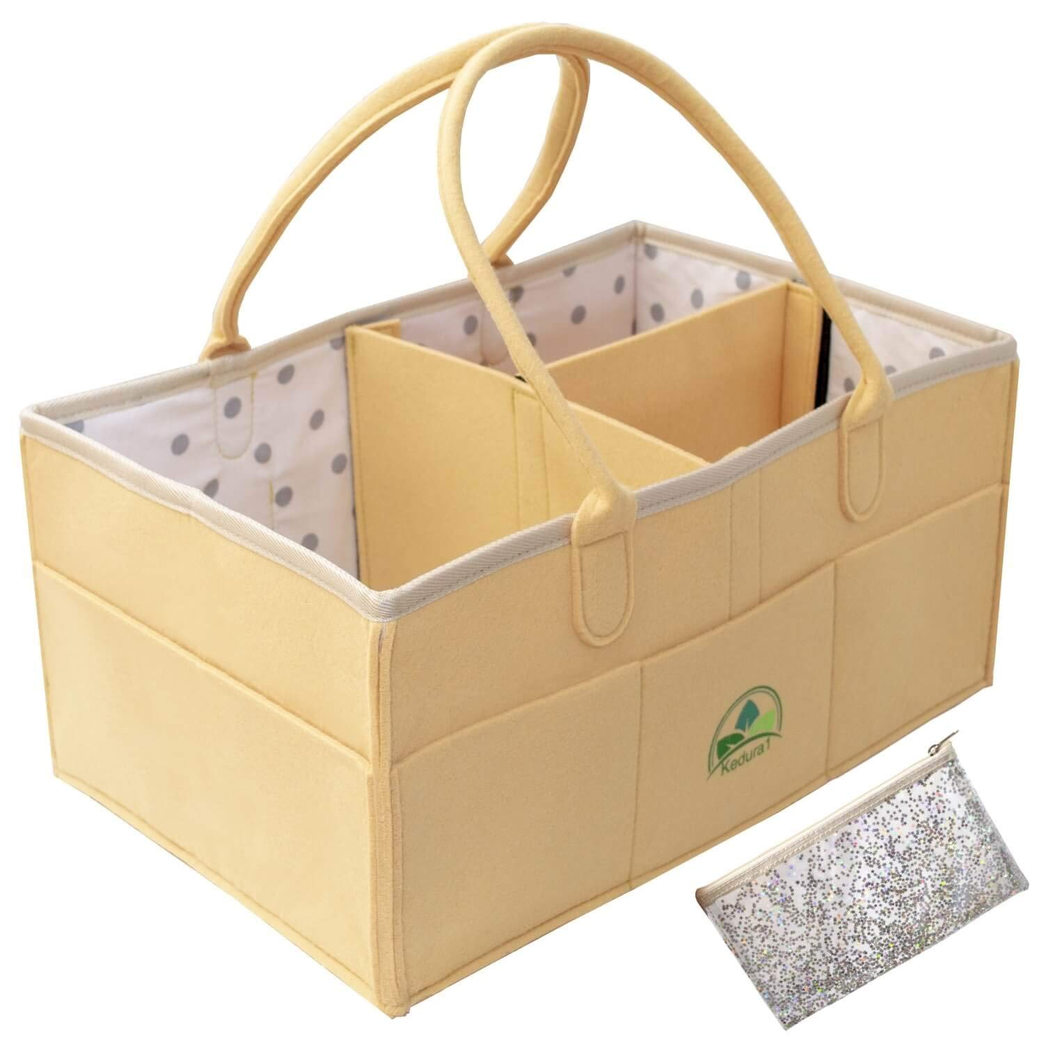 Baby Diaper Caddy Organizer - Large Portable Nursery Storage Bin for Diapers Toys |Sturdy Boy Girl Changing Table Kit and Car Travel Bag | Perfect Baby Shower Gift | Cosmetic Pouch Included Kedura1