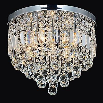 "16"" Crystal LED Flush Mount Ceiling Light fixture for Bedroom Washroom Bathroom Kitchen Chrome finish (LED Bulbs included $10 Value)"