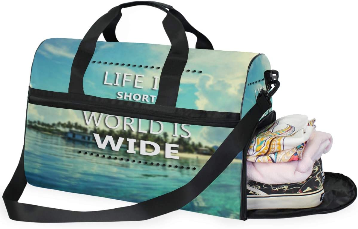 ALAZA Inspirational Quote For Life Sports Gym Duffel Bag Travel Luggage Handbag Shoulder Bag with Shoes Compartment for Men Women