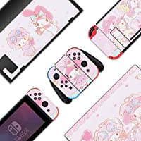 BelugaDesign My Melody Nintendo Switch Skin - Hello Kitty Sticker Wrap Vinyl Decal - Pastel Pink Full Set for Console…