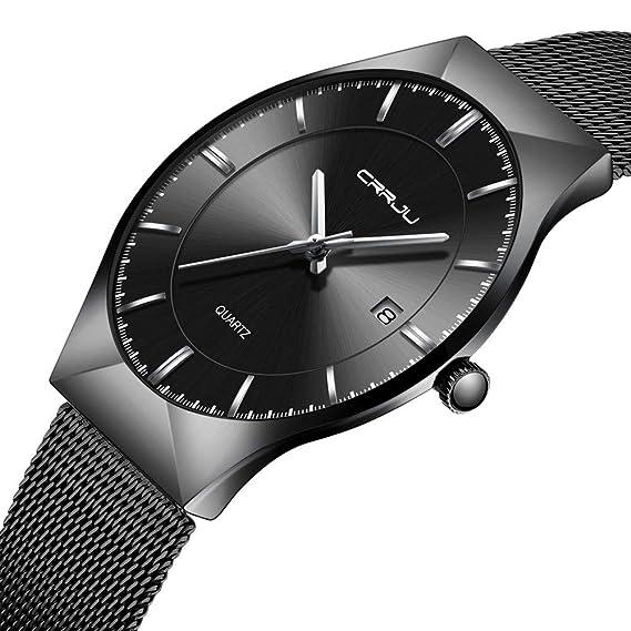 CRRJU Men Business Slim Analog Quartz Watch,Date Black Dial Wrist Watch with Mesh Bracelet