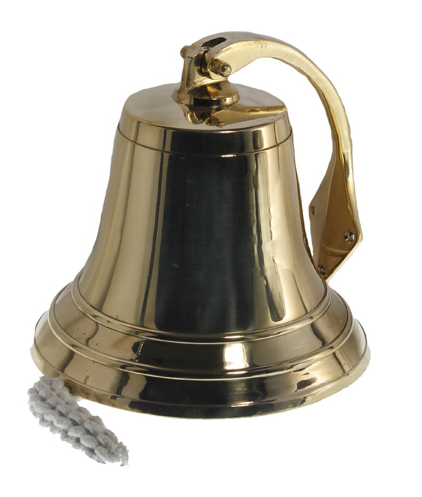 8'' Polished Brass Dinner Bell - Nautical Ship Decor
