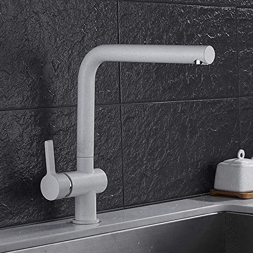 fhccy Paint Spraying White Kitchen Sink Tap Right Angle Design Single Handle Deck Mounted Kitchen Faucet