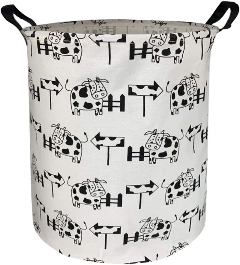 Sanjiaofen Large Storage Bins,Canvas Fabric Laundry Basket Collapsible Storage Baskets for Home,Office,Toy Organizer,Home Decor (Arrowhead Cow)