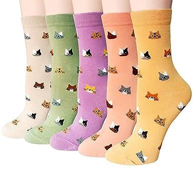 Calcetines de Algodón de Mujers - Bakicey calcetines térmicos Adulto Unisex Calcetines (Gato Dormido)