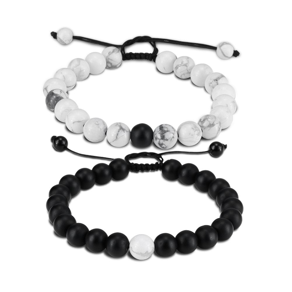 EnjoIt Distance Bracelet Black Matte Agate & White Howlite Energy Stone Beads Bracelet Set Couple Jewelry (Black 2 Braided)