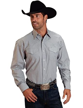 61c95bc779 Stetson Men's Grey Two Pocket Striped Western Snap Shirt at Amazon Men's  Clothing store: