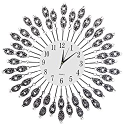Lulu Decor, Black Drop Wall Clock, Glass Dial with Lines, Dial Size 9 , Frame Size 24, Color Black, Perfect for Housewarming Gift. (White Dial 2)