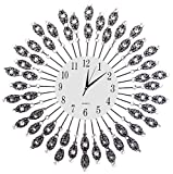 LuLu Decor, Black Drop Wall Clock, Glass Dial with Lines, Dial Size 9'', Frame Size 24'', Color Black, Perfect for Housewarming Gift. (White Dial 2)