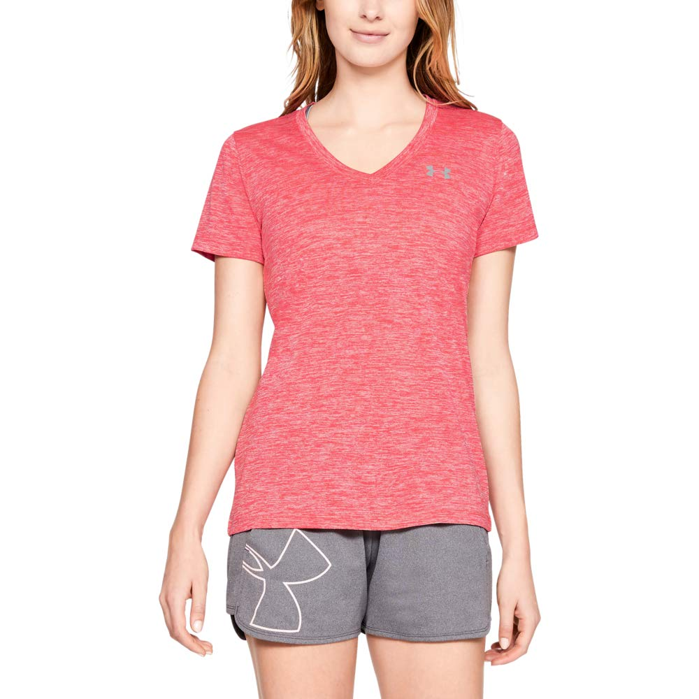 Under Armour Women's Tech V-Neck Twist Short Sleeve T-Shirt, Watermelon (677)/Metallic Silver, X-Large by Under Armour