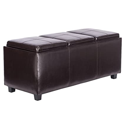 Ordinaire Giantex PU Leather Storage Bench Ottoman Foot Rest Stool With 3 Serving  Trays (Brown)