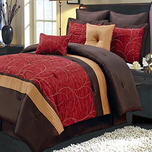 (Comforter Set 8 Piece Queen Size (90x92) Luxury Complete Bed Set - with Shams Bed Skirt and Decorative Pillows - Modern Branches Vines Embroidered Pattern Oversized Bedding Red and Brown)