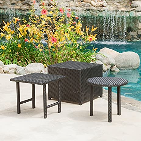 Lakeport Patio Furniture Black 3 Piece Outdoor Wicker Side Table Set