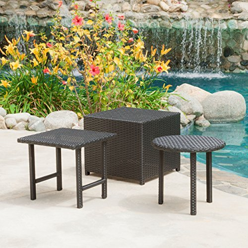 Lakeport Patio Furniture Black 3 Piece Outdoor Wicker Side Table Set (Round Wicker Outdoor Setting)