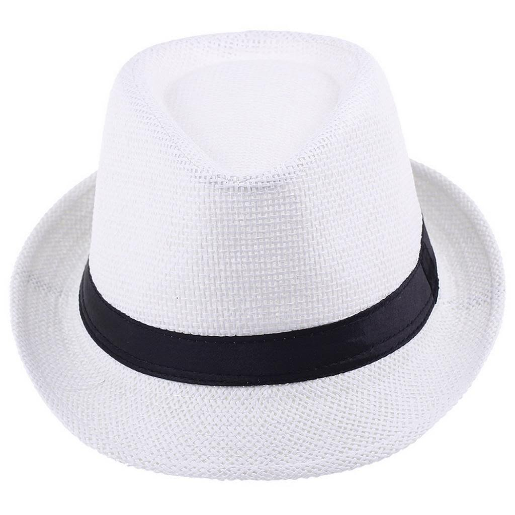 EOZY White Fedora Trilby Gangste Summer Beach Sun PP Braid Straw Panama Hat