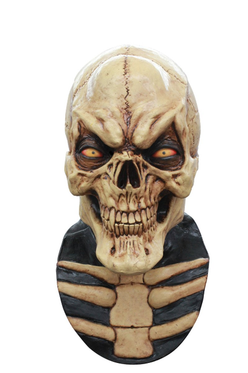 Grinning Cream Cream Skull Latex Horror Halloween Head and Neck Mask by CC