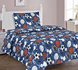 MB Collections Sport Football, Basketball, Baseball, Soccer 3 Pcs Printed Sheets with Pillowcase for Kids/ Teens # Twin Size Sheets