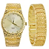 Men's Gold Toned Fashion Bling Nugget Heavy Metal Band Watch & Bracelet SET