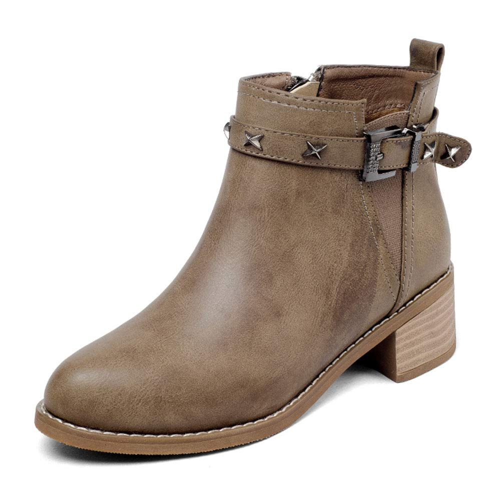 Damenschuhe HWF Frauen PU-Leder Schuhe Martin Stiefel Flache Winter weibliche Freizeit Stiefel Retro Absatzhöhe 4cm (Farbe   Khaki größe   37)