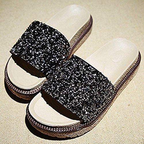 de d'été air Noir Chaussures Plate de Dames Fleurs Slide Plein Mode Coin en Femmes Sandales Forme p46qZI
