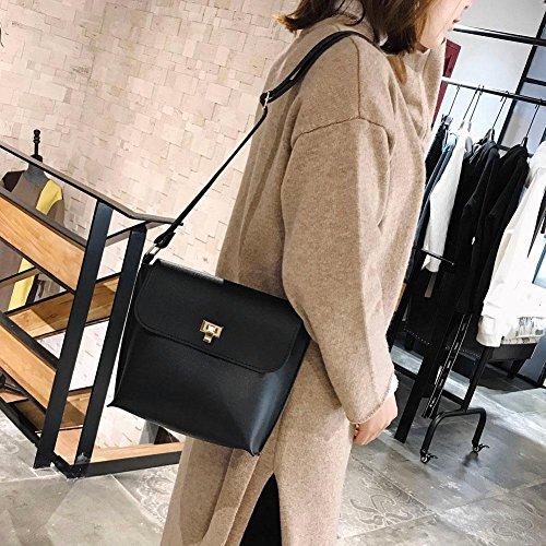 Bag Simple PU Messenger Women Black Shoulder Pure Color Handbag Leather Widewing 1qxXd1