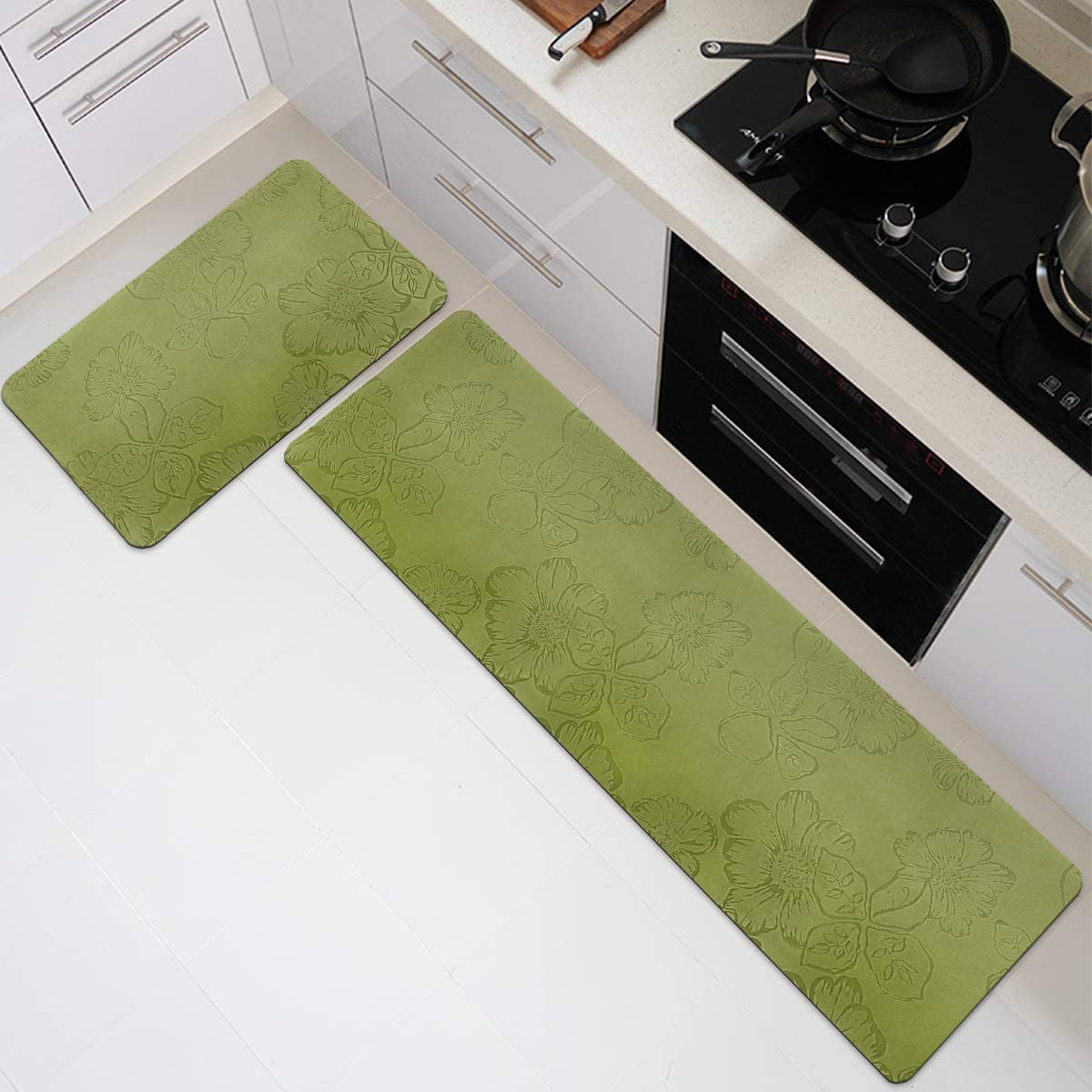 Green 17.5 x 55 Inches ITSOFT 2pc Natural Rubber Backed Non-Slip Kitchen Rug Set Indoor Outdoor Doormat Runner Rug Set 17.5 x 27.5 Inches