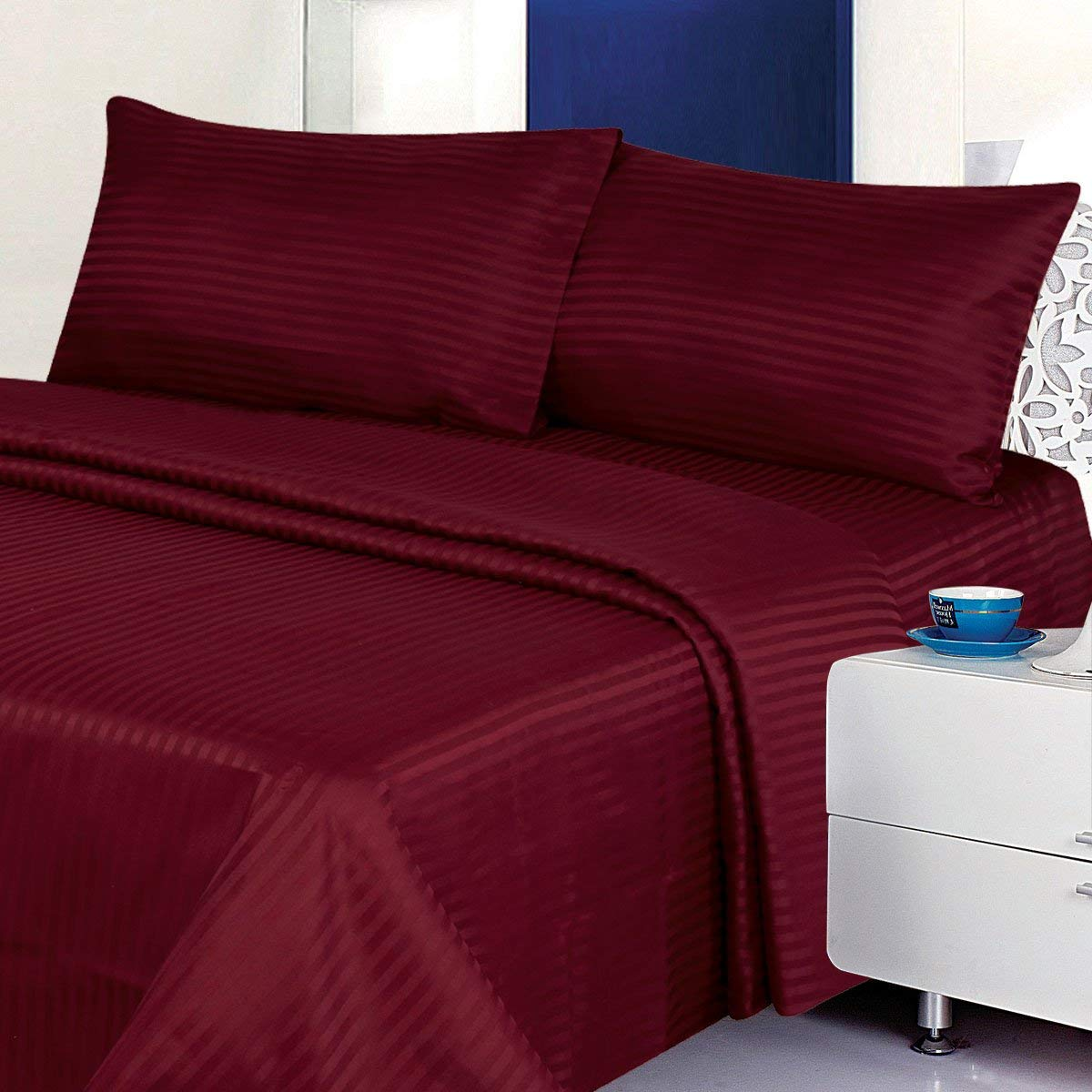 Millenium Linen  Queen Size Bed Sheet Set - Burgundy - 1600 Series 4 Piece - Deep Pocket  -  Cool and Wrinkle Fre e - 1 Fitted, 1 Flat, 2 Pillow Cases by Millenium Linen
