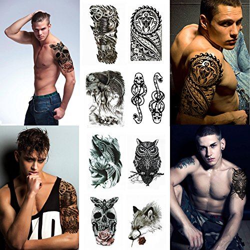 Large Temporary Tattoo Stickers 8 Sheets for Teens Guys Men, Playmax Fake Tattoo Biker Tattoo Waterproof Stickers for Arms Shoulders Chest & Back, Black]()