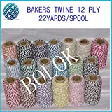 FINCOS 2pcs/lot Bakers Twine (22yard/Spool) 37 Color Cotton Rope,Twisted Cotton Twine and Rope by