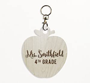 Andaz Press Personalized Laser Engraved Wood Keychain, Teacher Grade, Apple Shape, Custom Name, 1-Pack, Natural Wooden Teacher's Gift