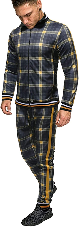 WBLKD Chándal De Cremallera para Hombre, Sudadera Impresa Top Pantalones Sets Sports Traje Chándal