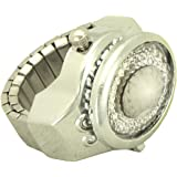 Finger Ring Watch Cover Dial for Women silver tone and white stone - 4