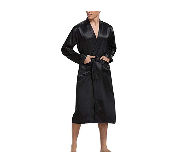 Navy Blue Men Kimono Nightwear Satin Robe Pyjamas Room Home Clothes Bathrobe Long Sleeve Satin Soft Silky Sleepwear Gown