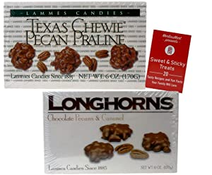 Lammes Candies Gourmet Caramel Chocolate Pecan Gift Box: (1) Texas Chewy Pecan Pralines (1) Milk Chocolate Covered Longhorns (6 ounces each) Plus Recipe Booklet Bundle