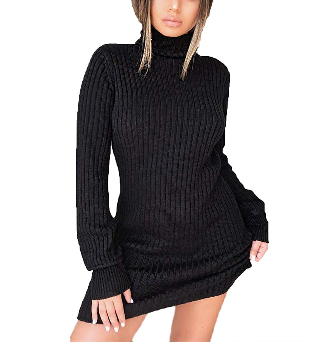 5f56f35d837 mettime US Womens Sexy Turtle Neck Long Sleeve Elastic Bodycon Knit Solid  Color Winter Autumn Dress Sweater Pullover at Amazon Women s Clothing store