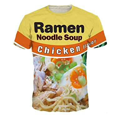 KAKARO 3D Funny T-Shirt Beef/Chicken Flavor Ramen Noodle Soup Food T-