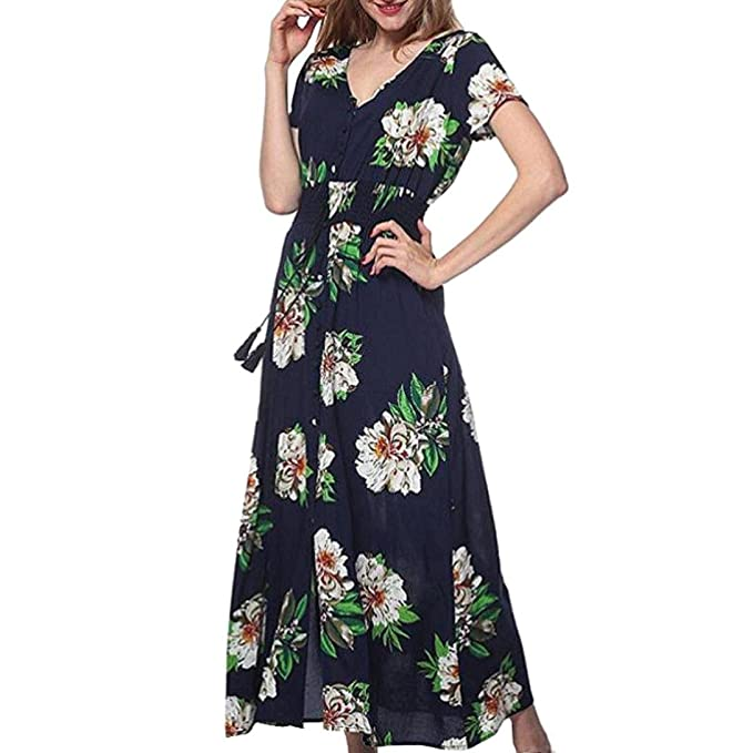 1ca39cac7f0b Sunward Women s Sexy Button Up Split Floral Print Flowy Party Maxi Dress  (S