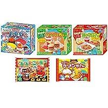 Kracie Popin Cookin 5 Item Bundle with Sushi, Hamburger, Piza, Takoyaki, Ramen by Kracie